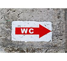 "sign ""WC"" on the rough concrete wall Photographic Print"