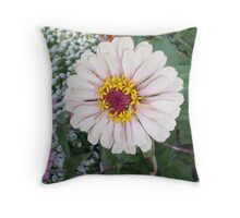 Single Perfect White Bloom Throw Pillow