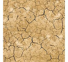 Clay soil with cracks without water. soil erosion Photographic Print