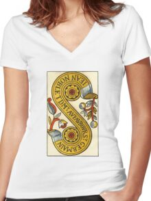 Two Of Coins Tarot Card Women's Fitted V-Neck T-Shirt