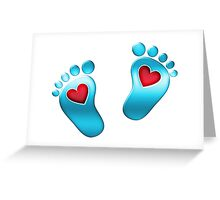 Baby feet with heart Greeting Card