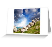 magnificent mountain landscape with clouds and fog relief Greeting Card