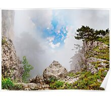magnificent mountain landscape with clouds and fog relief Poster
