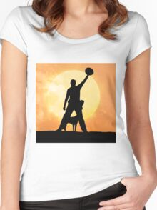 Male silhouette on background amazing sunset Women's Fitted Scoop T-Shirt