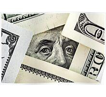 portrait of Benjamin Franklin on the hundred dollar bill  Poster