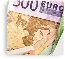 Map of Europe on 50 Euro banknote  Canvas Print