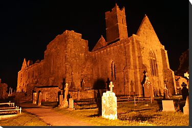 Quin Abbey at night 1 by John Quinn
