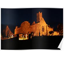Quin Abbey at night Poster