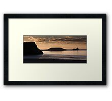 Rhossili bay and Worm's head on the Gower peninsular Framed Print