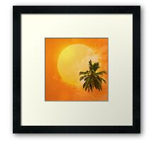 Silhouettes of palm trees on the artistic background Framed Print