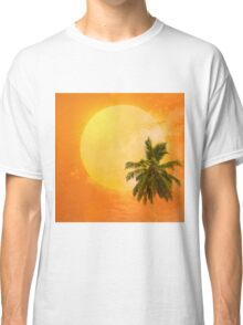 Silhouettes of palm trees on the artistic background Classic T-Shirt