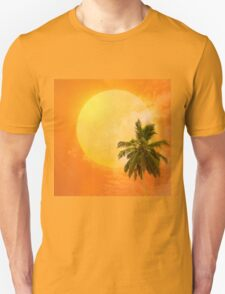 Silhouettes of palm trees on the artistic background Unisex T-Shirt