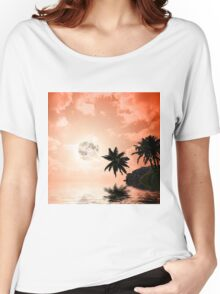 Silhouettes of palm trees on the artistic background Women's Relaxed Fit T-Shirt
