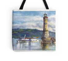 Lindau Lighthouse and Harbour, Germany Tote Bag