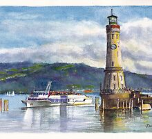 Lindau Lighthouse and Harbour, Germany by Dai Wynn