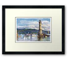 Lindau Lighthouse and Harbour, Germany Framed Print