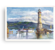 Lindau Lighthouse and Harbour, Germany Metal Print