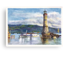 Lindau Lighthouse and Harbour, Germany Canvas Print