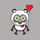 Panda bear showing a heart balloon and feeling crazy in love by Zoo-co