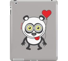 Panda bear showing a heart balloon and feeling crazy in love iPad Case/Skin
