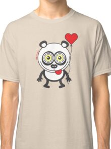 Panda bear showing a heart balloon and feeling crazy in love Classic T-Shirt