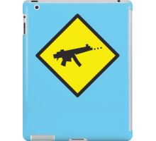 Digital GAMER crossing sign with digital gun rifle iPad Case/Skin