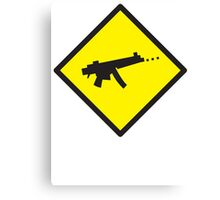 Digital GAMER crossing sign with digital gun rifle Canvas Print