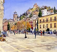 La Plaza Nueva, Granada, Spain by Margaret Merry