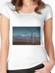 Wind turbines in south Wales Women's Fitted Scoop T-Shirt