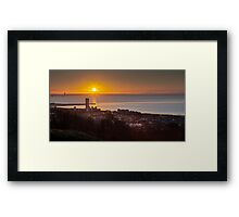 Sunrise on Swansea city south Wales Framed Print