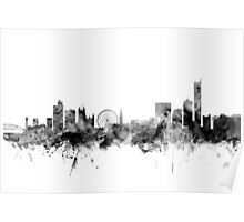 Manchester England Skyline Poster