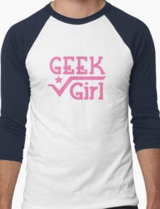 Geek Girl with pi Men's Baseball ¾ T-Shirt