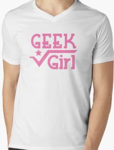 Geek Girl with pi Mens V-Neck T-Shirt