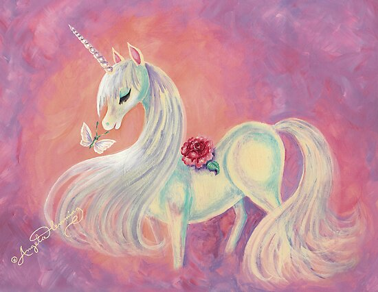 Unicorn In Blush Of Dawn by AngelArtiste