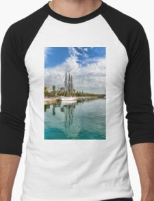 Tall Ships and Palm Trees - Impressions of Barcelona Men's Baseball ¾ T-Shirt