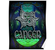 CANCER Zodiac Sign Horoscope Colorful Birth Month Colorful Fractal Psychedelic Design Poster