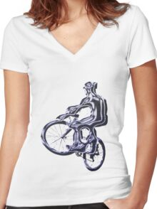 Alien Cyclist Women's Fitted V-Neck T-Shirt