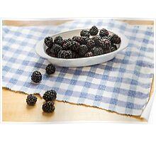 Fresh Blackberries in Window Light Poster