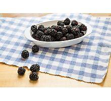 Fresh Blackberries in Window Light Photographic Print