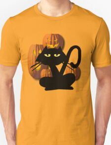 Black Cat and Pumkins T-Shirt