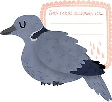 Collared Dove Book Plate by Claire Stamper