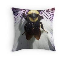 Bee on an Iris Throw Pillow