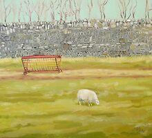 Drystone Wall and Sheep by Jennifer Wyse