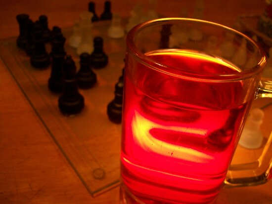 Glass of Wine and a Game of Chess by Alison Pearce