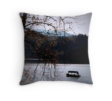 Lake Bled with boat Throw Pillow