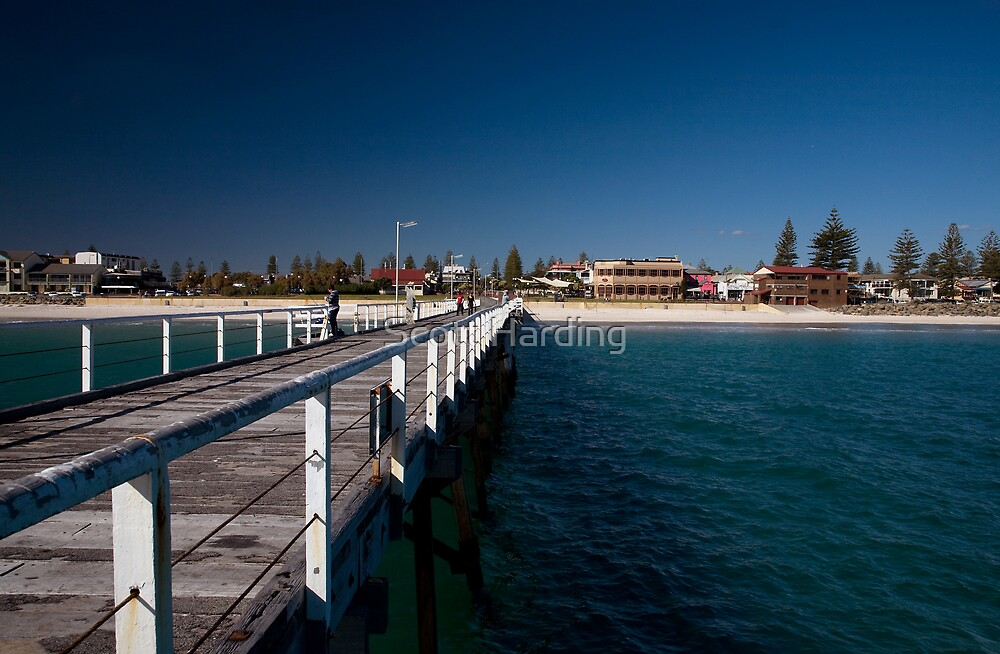 Henley beach jetty square by scott harding redbubble for Seaview pier fishing report