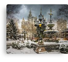 Snowstorm At City Hall Canvas Print