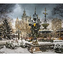 Snowstorm At City Hall Photographic Print