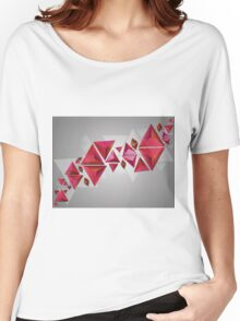 Red 3d Triangles Women's Relaxed Fit T-Shirt