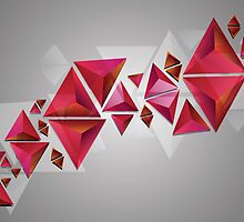 Red 3d Triangles by AnnArtshock